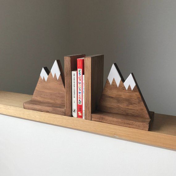 Mountain Peak Book ends, Woodland Nursery Decor, Stained Wooden Bookends, Bookends for kids, Mountain Book Ends, Hike Decor #scenery