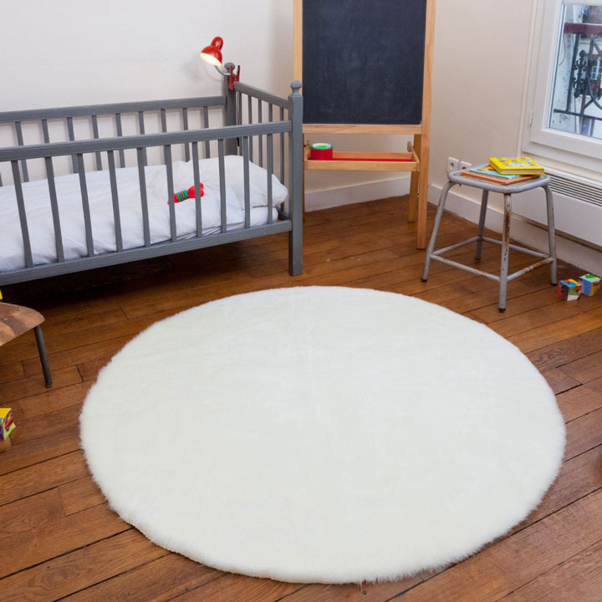 tapis rond fausse fourrure blanc 140
