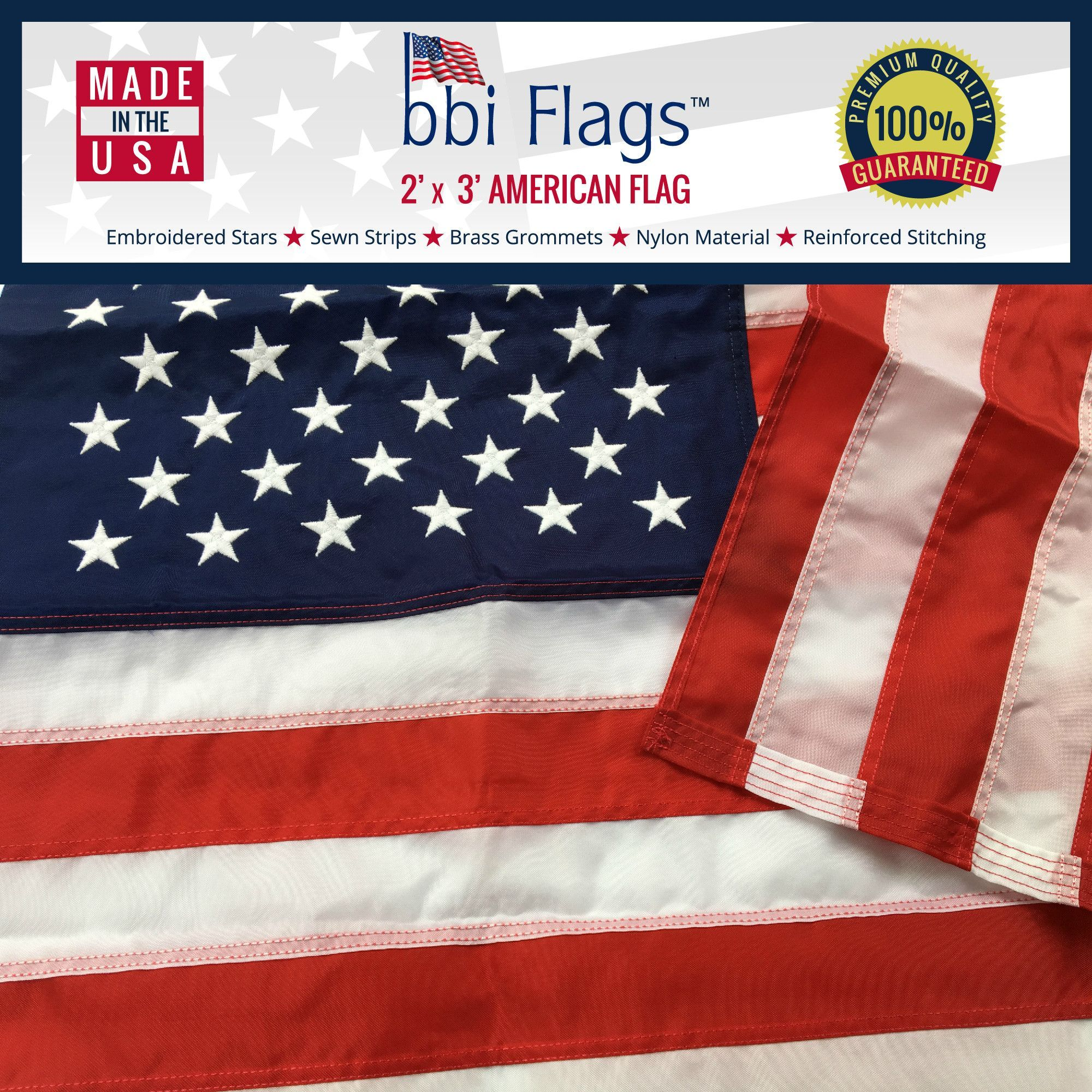 American Flag - Uses Grommets - Multiple Sizes - Best Quality Nylon with Embroidered Stars and Sewn Stripes
