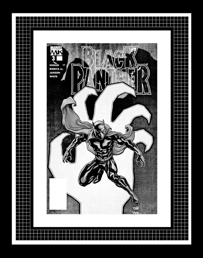 Frank Cho Black Panther 3 Rare Production Art Cover Monotone