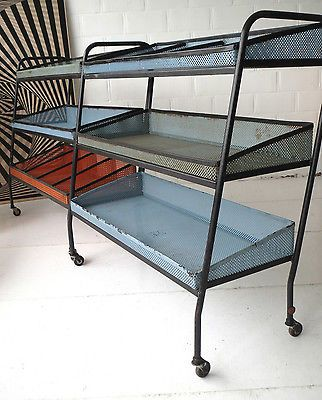 1x METAL PERFOREE RACK CART TROLLEY ETAGERE MEUBLE PRESENTATION 1950