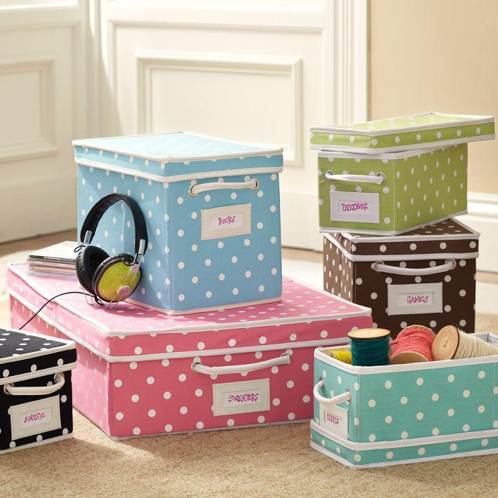 PB Teen Dottie Canvas Bins   Cute Storage/organization Options!