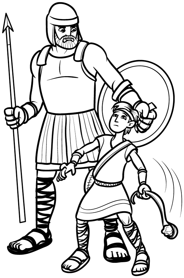 David and Goliath's Story Coloring Pages for Kids