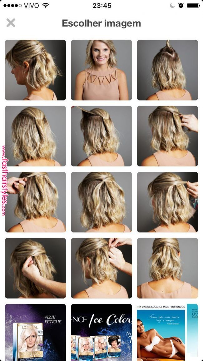 Passo A Passo Para Cabelos Curtos Pelo In 2019 Pinterest Hair Hair Styles And Short Hair Styles Short Hair Updo Short Hair Styles Curly Hair Styles