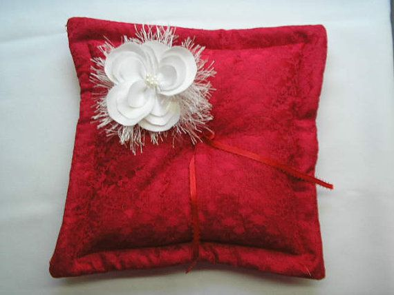 Red Lace Ringbearer's Pillow  Lace Pillow  Red Lace by IDoDoodads, $29.95