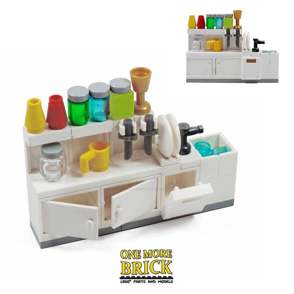 Lego kitchen sink cabinets utensils and accessories all new