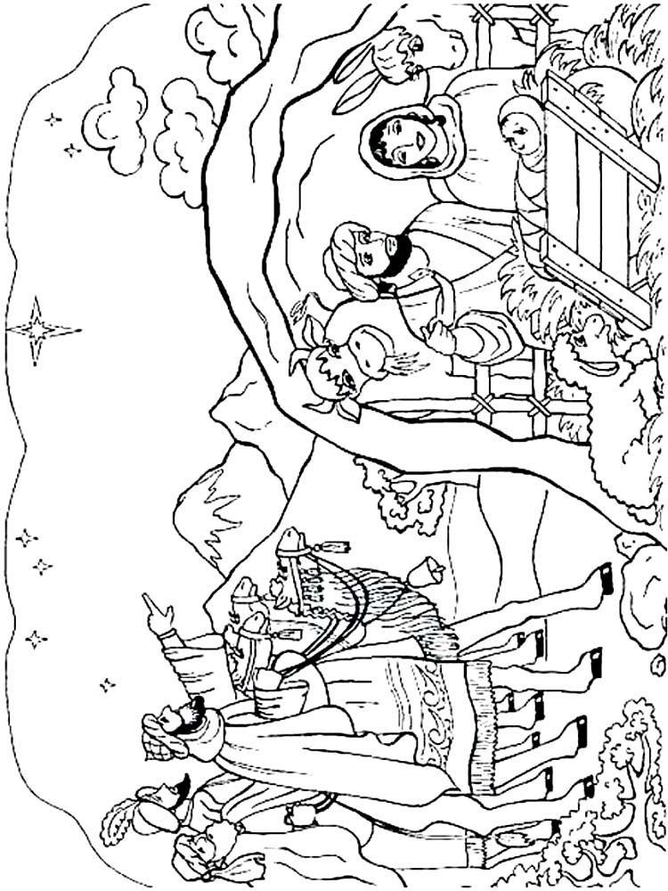 Nativity Scene Coloring Page Free (Dengan gambar)