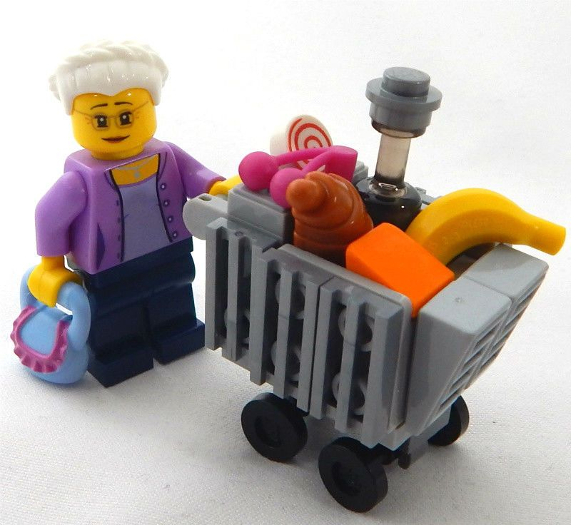 New Lego Grandma With Shopping Cart Minifig Lot Minifigure Grocery Market Food Lego Minifigure U Bahn