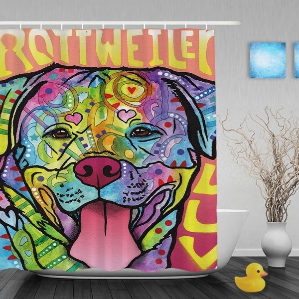 Rottweiler Luv Shower Curtain Polyester Pet Dog Bath Decor With Hooks Raining Cats And Dogs