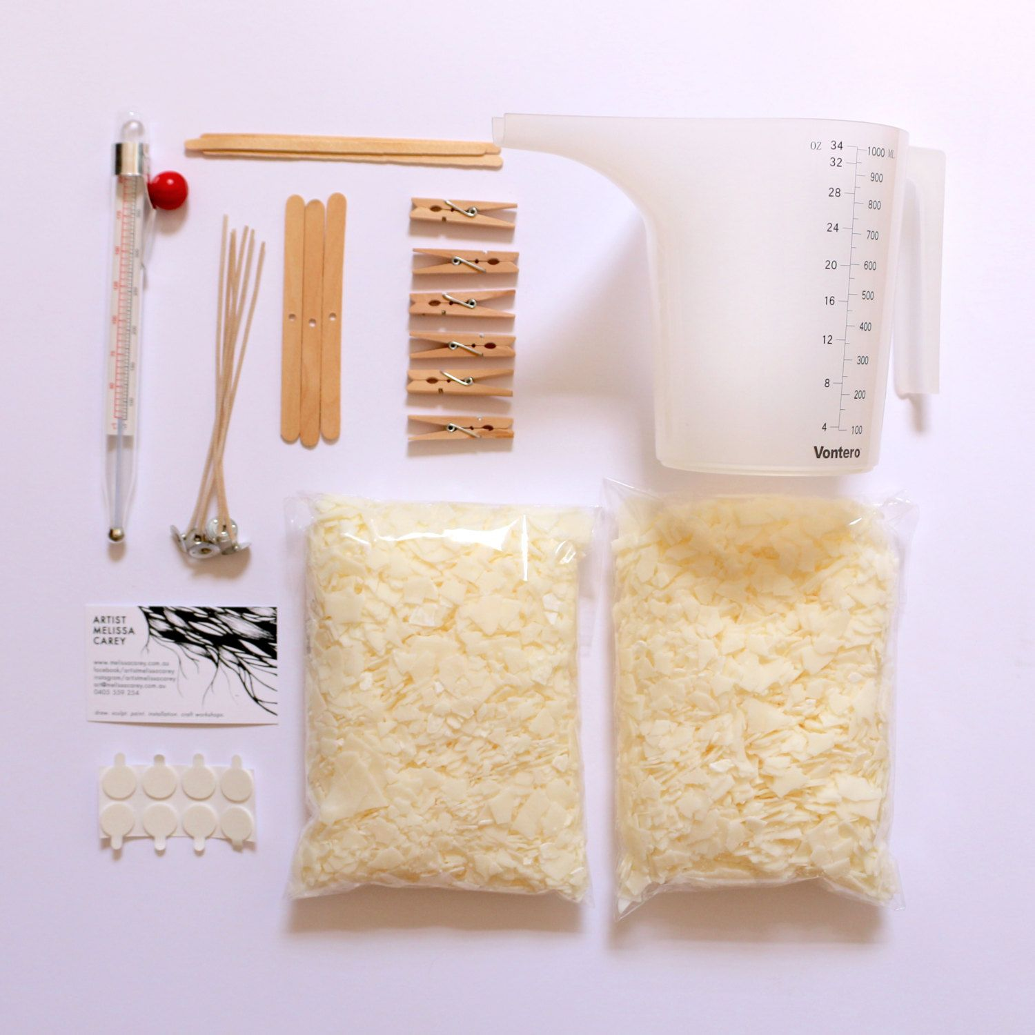 Candle Making DIY Kit with EcoSoy Wax, all supplies and