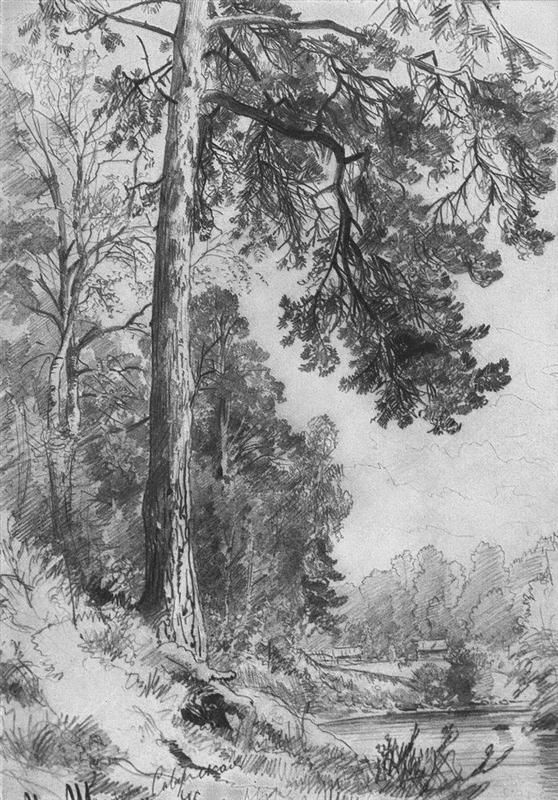 Peasant Woman With Cows Ivan Shishkin Wikiart Org Landscape Pencil Drawings Landscape Sketch Landscape Drawings
