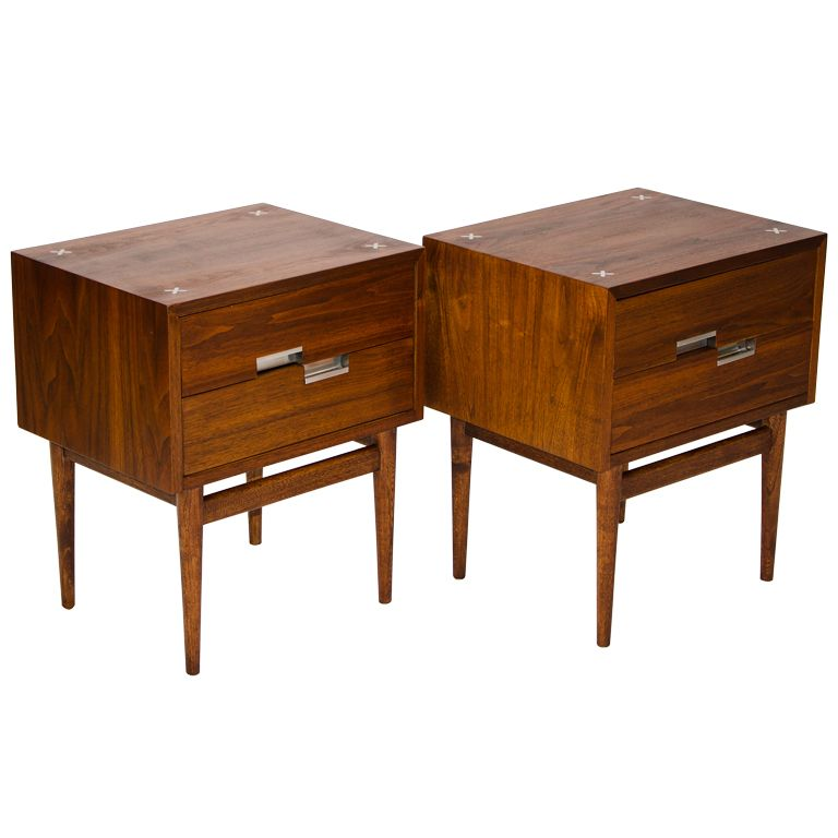 pair of walnut night stands american of martinsville | night stand