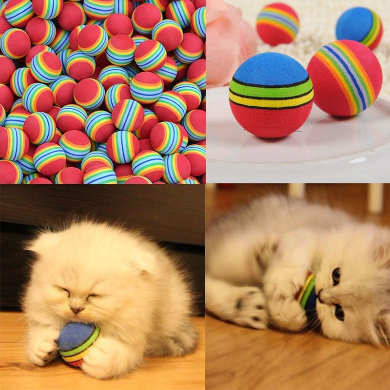 Colorful Cat Soft Foam Rainbow Play Balls – Accessories & Products for Cats