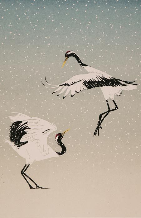Red-Crowned Cranes- hand-burnished linocut by Jenny Crocker http://www.originals-inprint.com/detail.php?image_id=10&artist_id=79&curPage=0