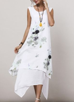 Floral Appliques Sleeveless High Low Shift Dress | elegante Kleider ...