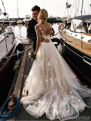 Sexy Open Back Lace A-line Wedding Dresses Online, Cheap Unique Bridal Dresses, WD587