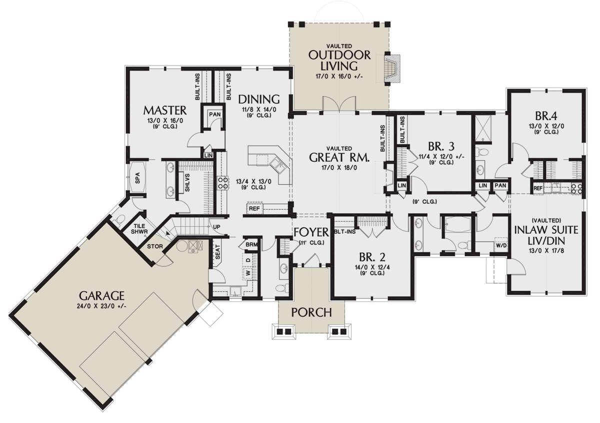 House Plan 2559 00875 Craftsman Plan 2 801 Square Feet 4 Bedrooms 3 5 Bathrooms In 2021 Craftsman Style House Plans Multigenerational House Plans House Plans