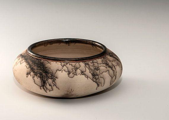Original hand thrown horse hair bowl with copper by DakotaBones, $195.00