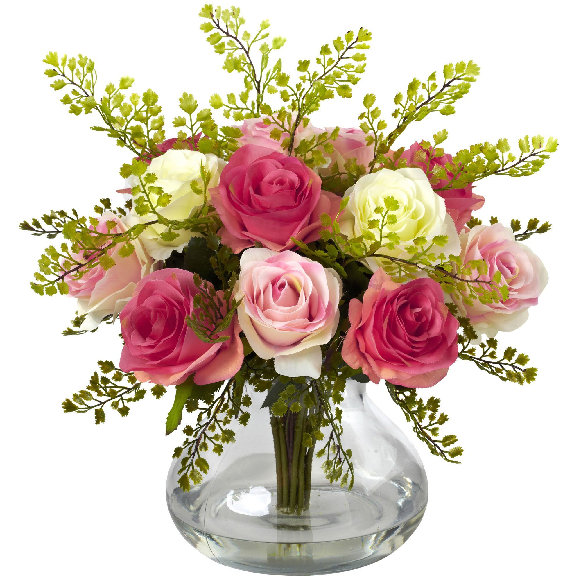 Silk Flowers Rose And Maiden Hair Arrangement With Vase Artificial