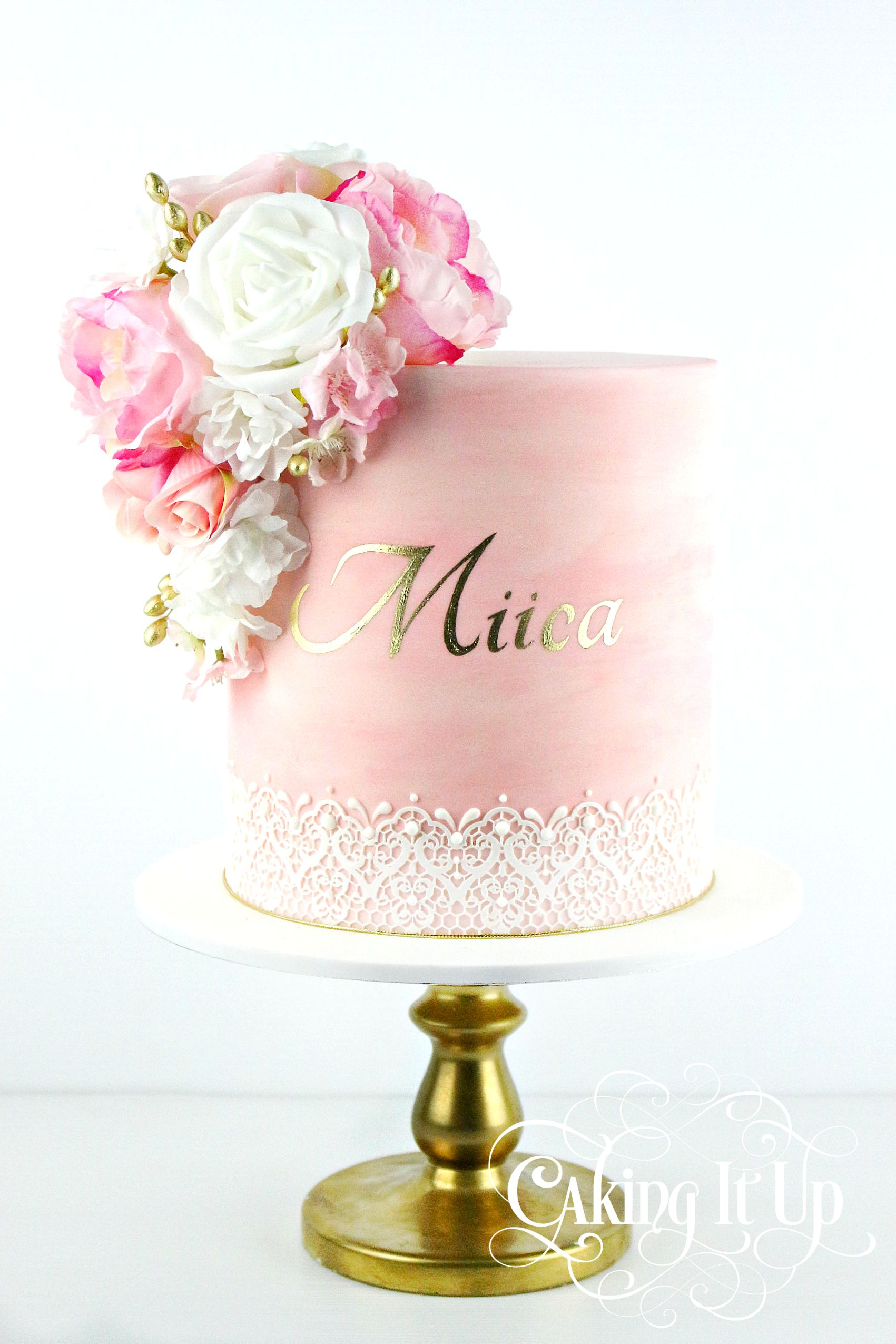 One Tier Pink Watercolour Cake With Edible Lace Golden