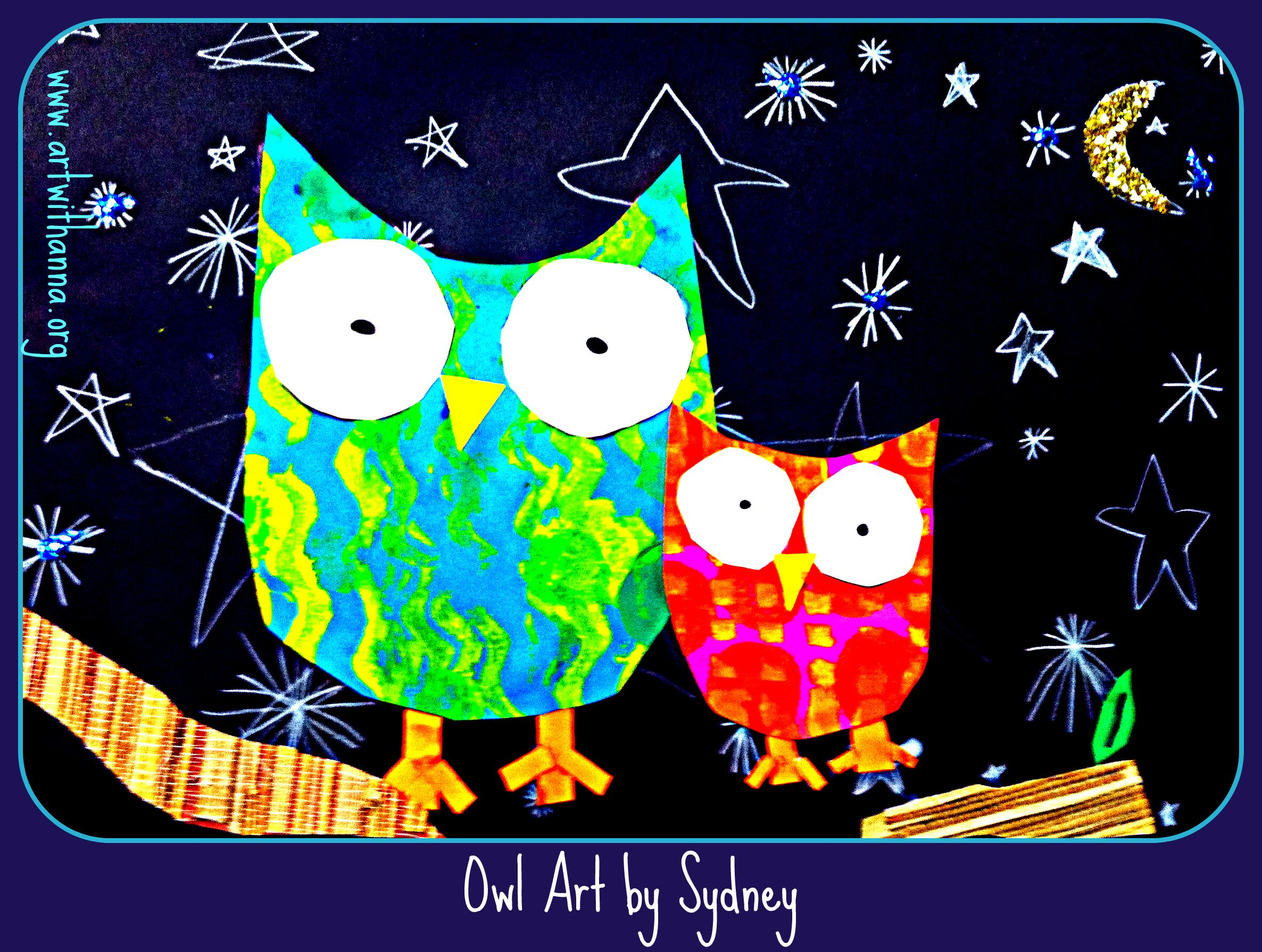 Owl art! Cut a template for kids to trace owl shape. (Paint patterns first) Black paper for background with white colored pencil stars. Glitter added to moon and textured paper for tree. ADORABLE!