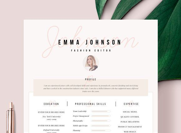 Resume Template 1 page @creativework247 Resume Templates