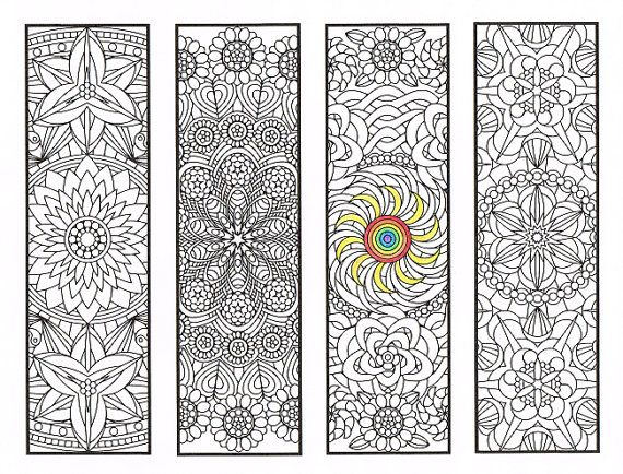Coloring bookmarks flower mandalas page 2 coloring for adults big kids and your resident - Zen kleuren ...