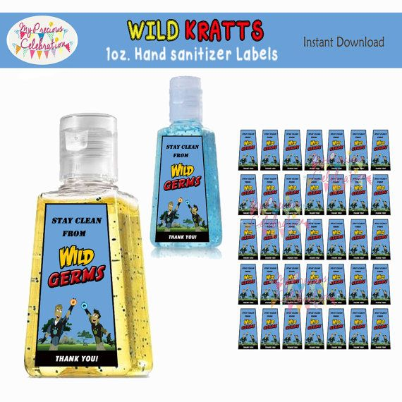 Wild Kratts 1oz Hand Sanitizer Labels By Preciouscelebration