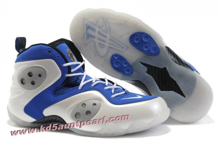 Nike Zoom Rookie LWP White Blue,Style White/Blue,The shoe features a white  foamposite and a bluenubuck on the eyestay, while some black hits placed at  the ...