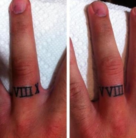Roman numerals for a wedding ring tattoo  Finally one Dave says is  on the  table Joy Smith   your wedding date in roman numerals  neat couple tat  . Mens Wedding Band Tattoos. Home Design Ideas