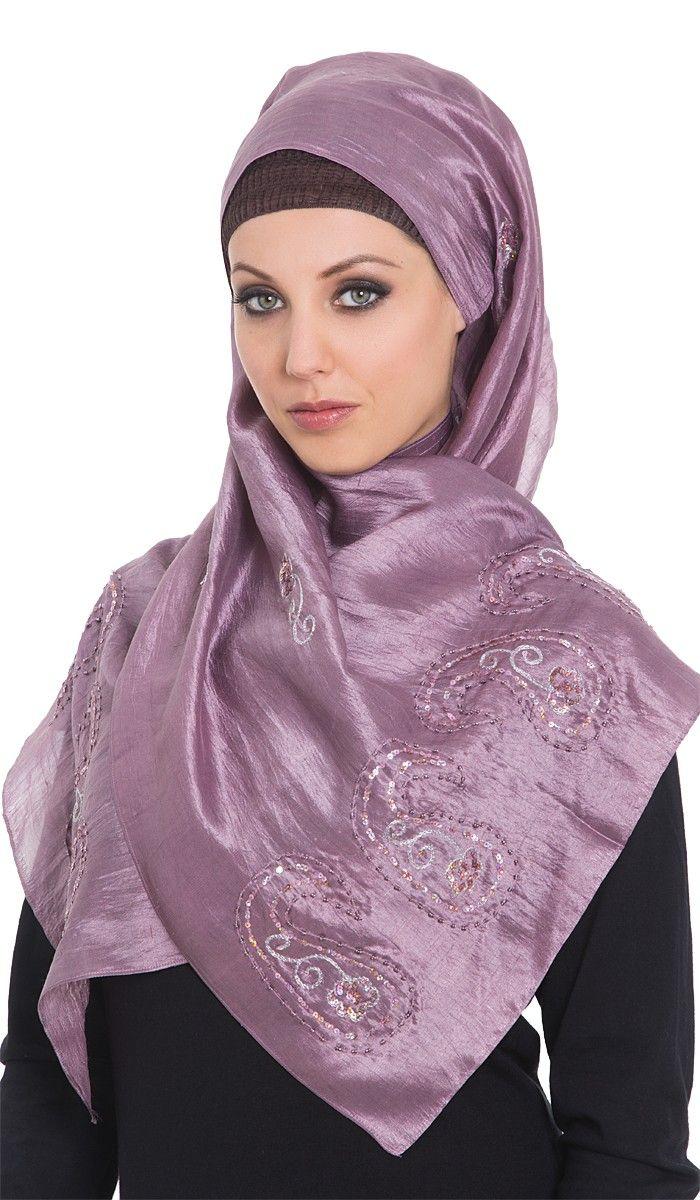 Melanie Russett Chiffon Oblong Wrap Hijab with Striped Edging