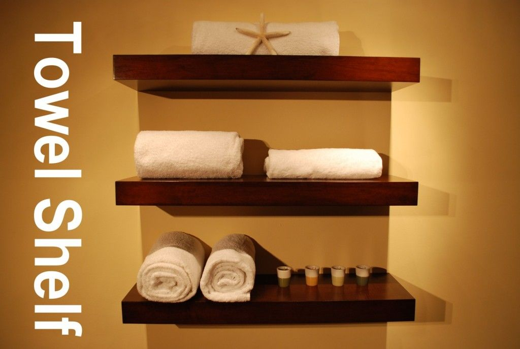 bathroom wood shelf floating wall shelves set of 3 walnut color wall rh pinterest com Wall Towel Holder Towel Rack
