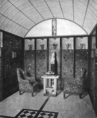A sitting area in the Palais Stoclet, Brussels, designed by Josef Hoffmann, 1905–11, illustrated in The Studio, 1914.