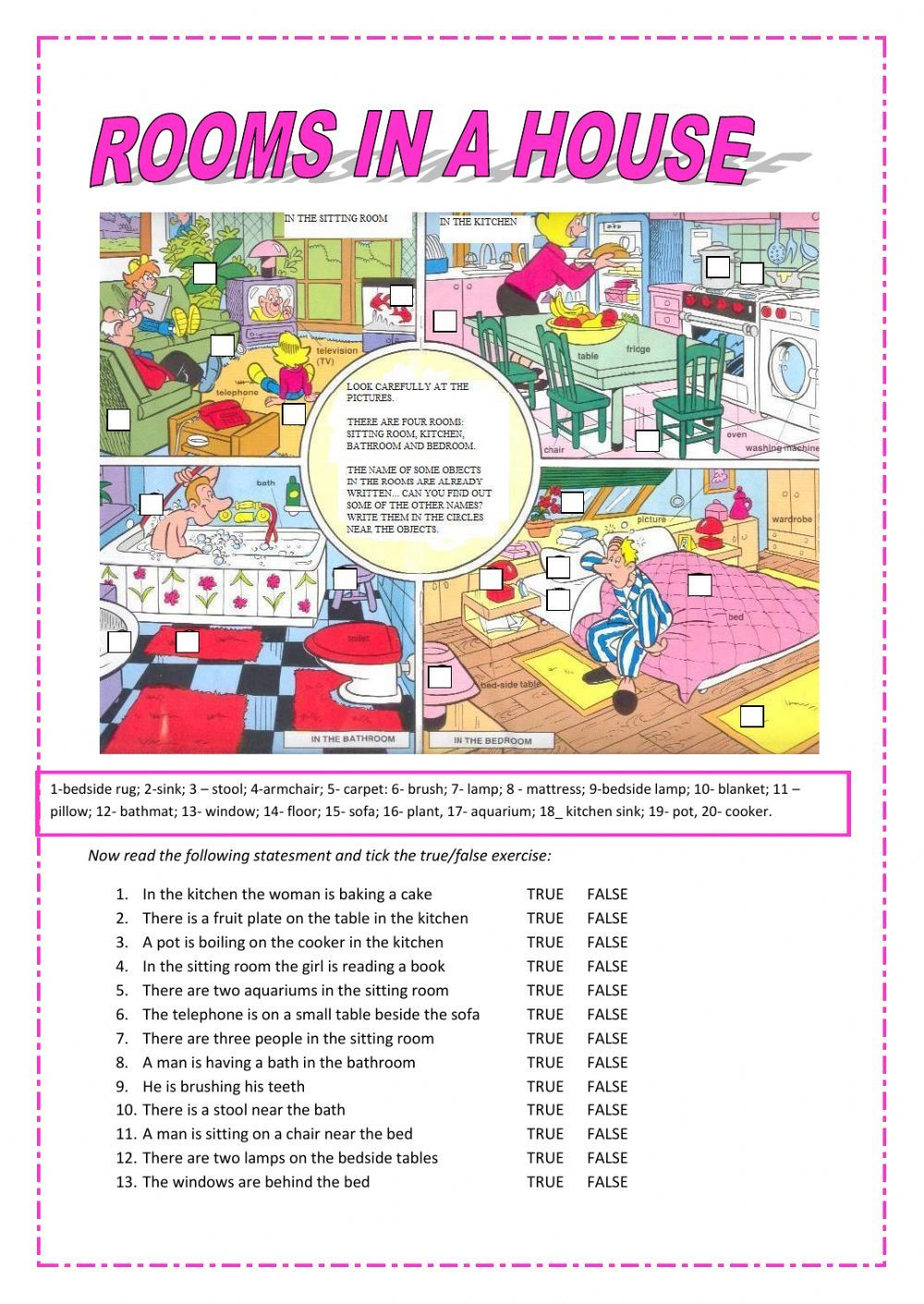Rooms In A House Interactive Worksheet The House