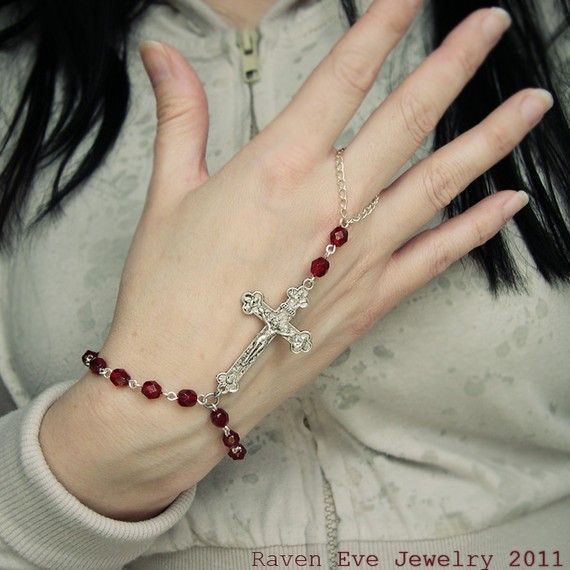 Rosary Beaded Hand Flower Slave Bracelet