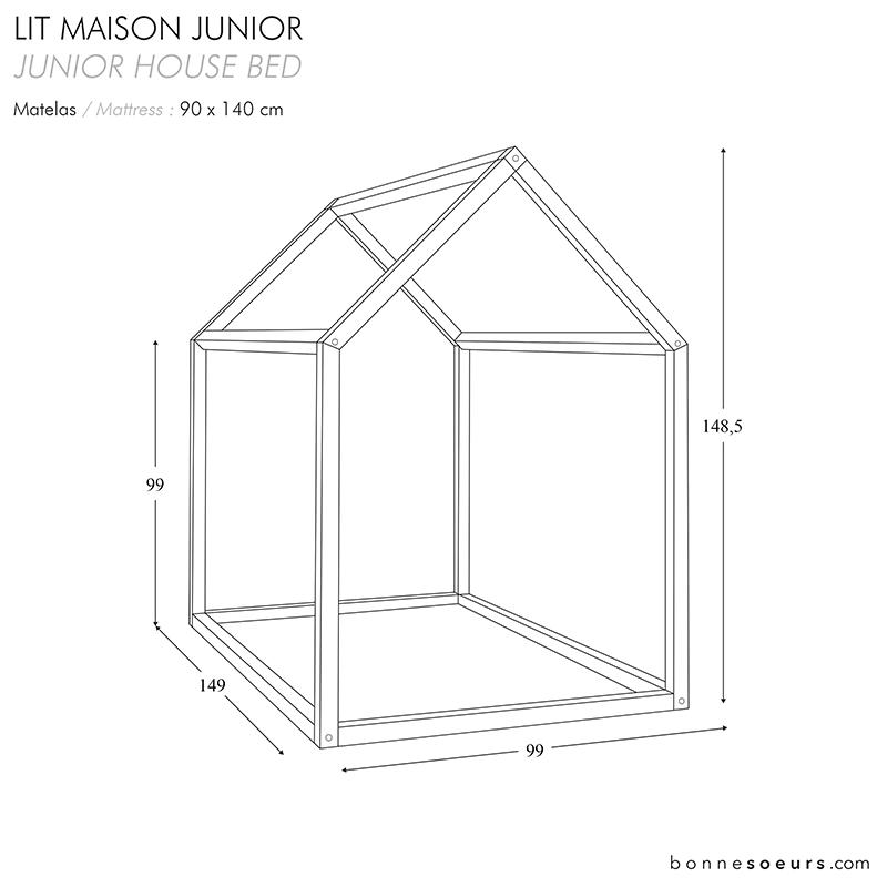 bonnesoeurs design lit maison house bed dimensions taille junior size - Dimension Lit
