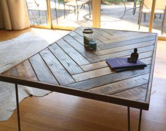 Herringbone Desktop Coffee Table Shabby Chic Kitchen Diy Coffee Table