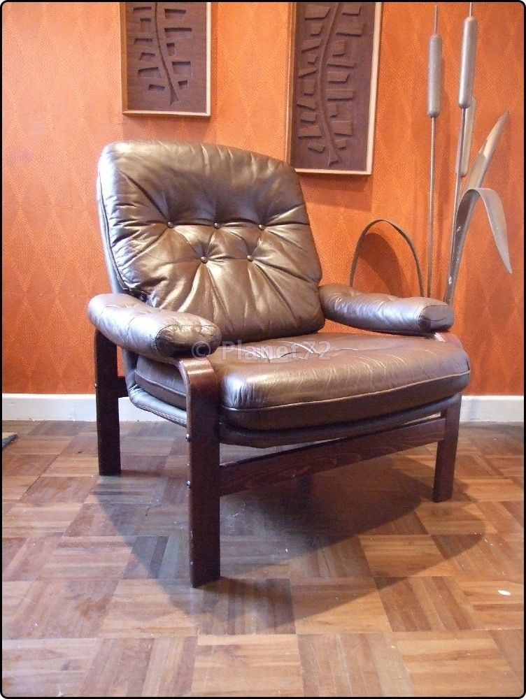 Retro Vintage 70s 80s Swedish Bent Wood Amp Leather Lounge