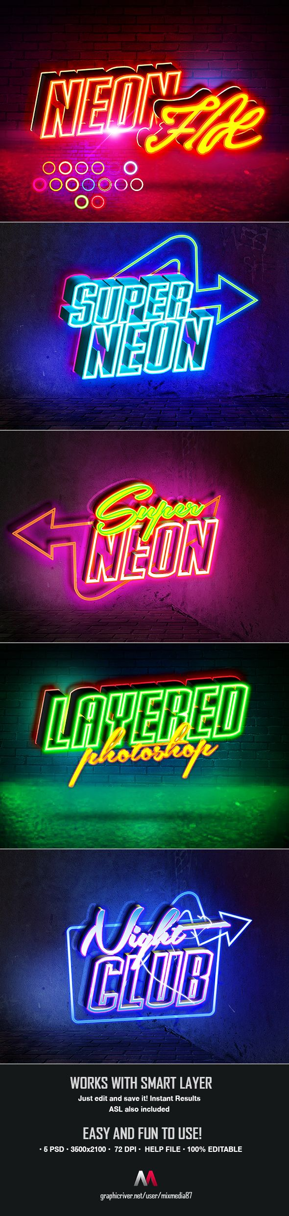 Neon Sign Text Styles. Download here https
