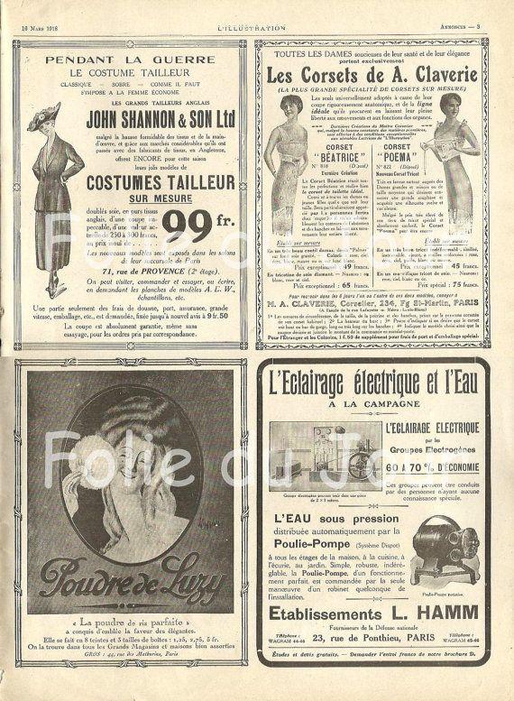 French Advertisement Newspaper Corset Belle Epoque Ww1 1918 Etsy Vintage Advertisements French Vintage Art Journal Backgrounds
