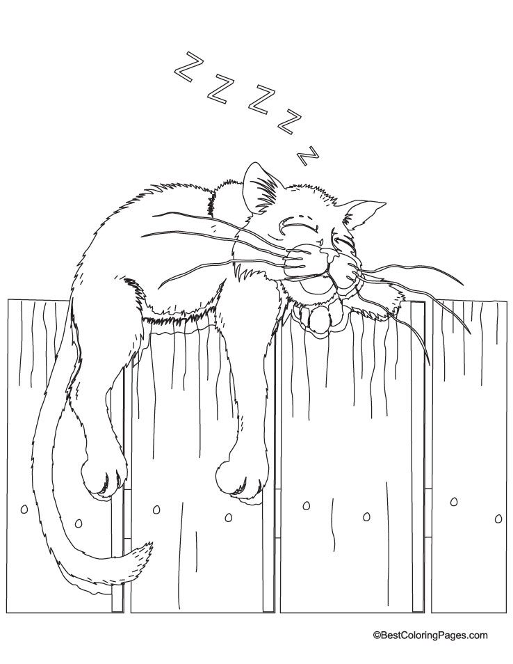 Sleeping cat coloring page | Download Free Sleeping cat coloring page for kids | Best Coloring Pages