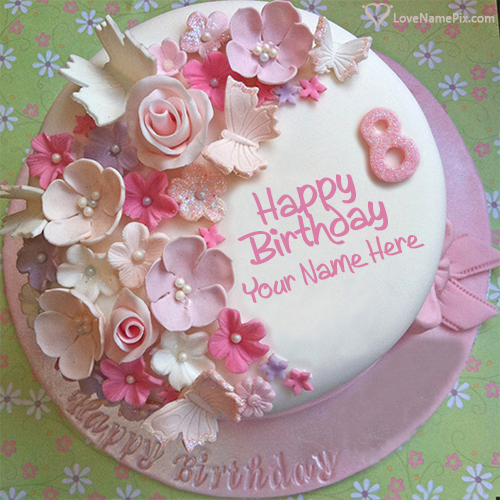 Butterfly Roses Decorated 8th Birthday Cake With Name Photo