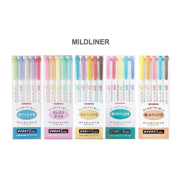 Zebra Mildliner Double-Sided Highlighters Fine Bold 5 Colors Set | A Lot Mall