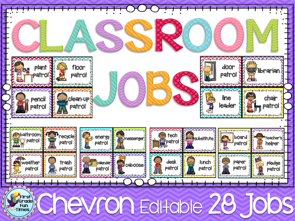 Classroom decor jobs  chevron also job chart helpers editable cute polka dots rh pinterest