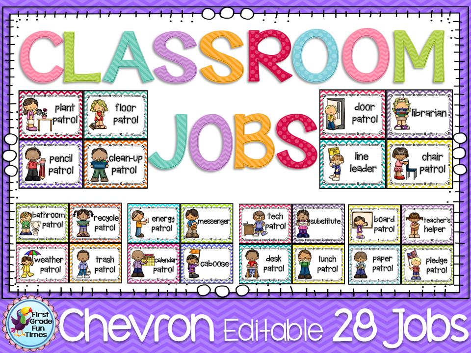 Classroom decor classroom jobs n chevron classroom management