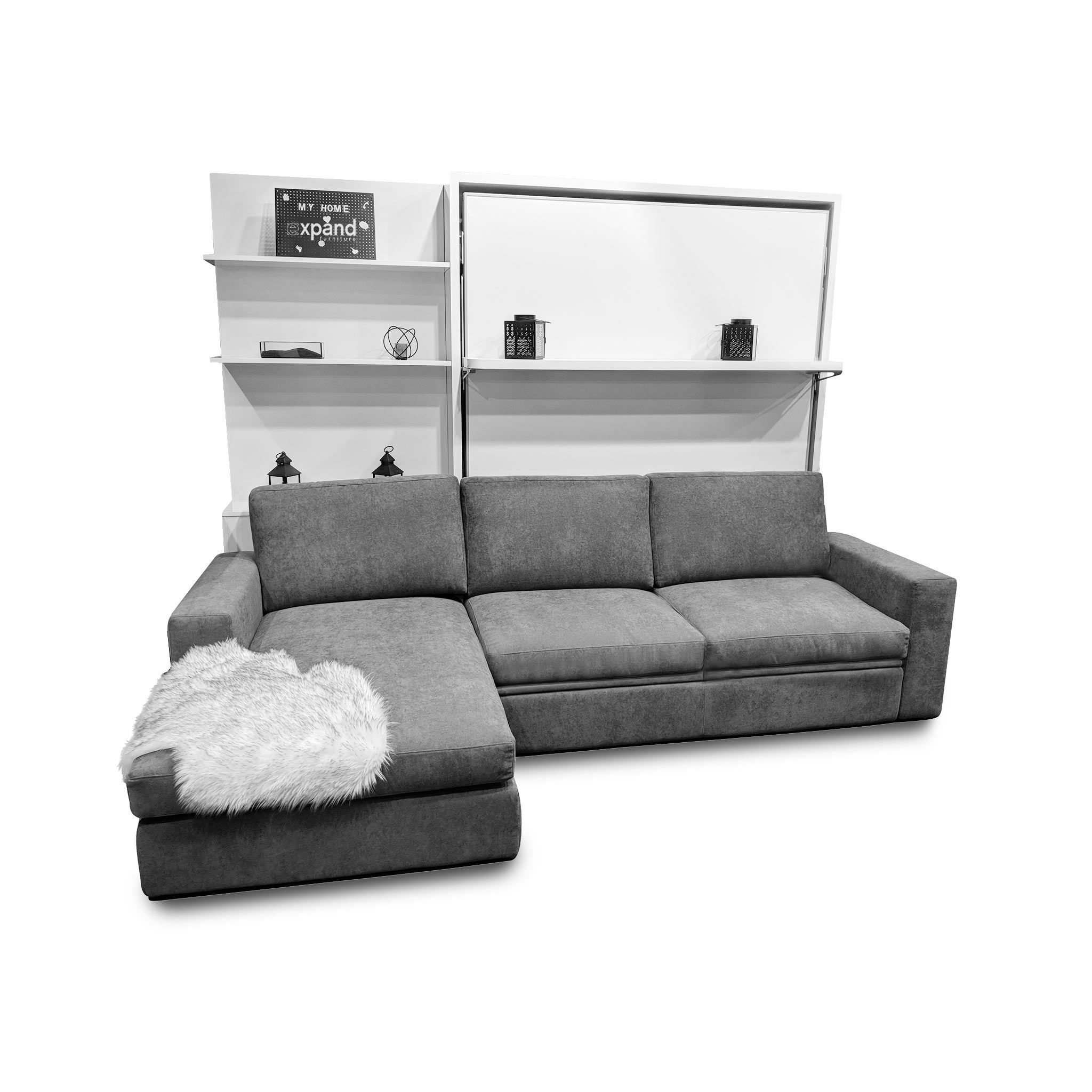 Compatto Shelf Wall Bed over Sectional Sofa Bed wall