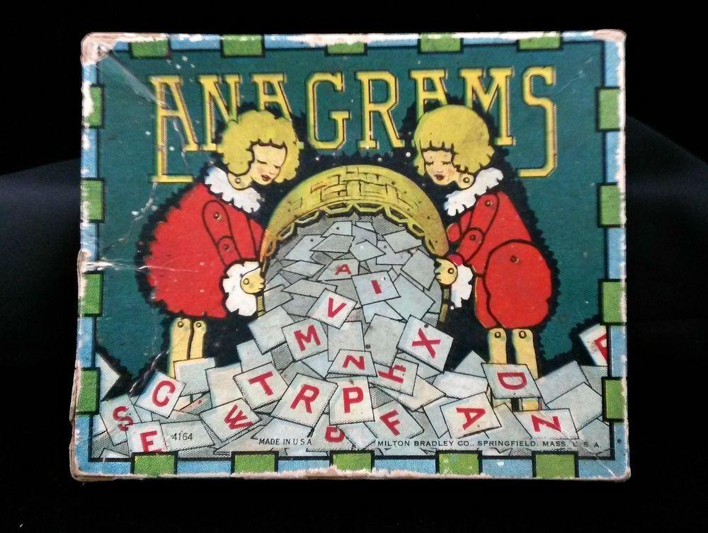 Vintage c1920s Milton Bradley Company Game of Anagrams No