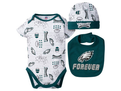 Philadelphia Eagles Gerber NFL Newborn 3 Pc Set Bodysuit-Bib-Cap ... b624bbfaf