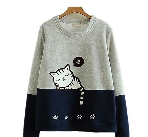 Anime Long-sleeve Cat Sweatshirt Lolite Women's Hoodies Cute Kawaii Clothes in Clothing, Shoes & Accessories, Women's Clothing, Sweats & Hoodies | eBay