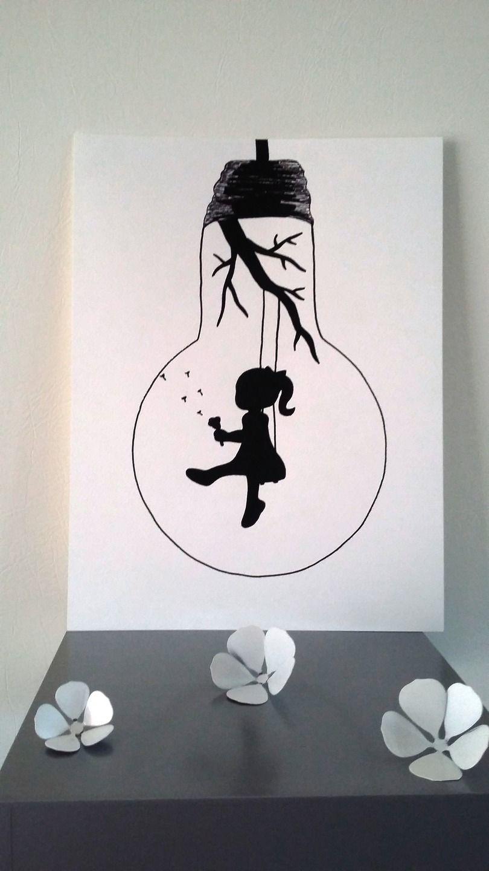 Affiche Illustration Noir Et Blanc Ampoule Envole Moi